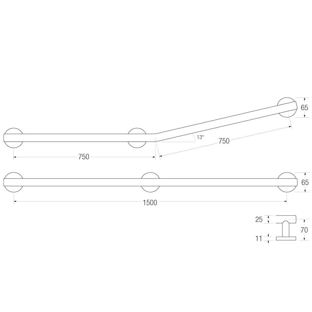 Yardley Straight or Cranked Bath Rail Measurements