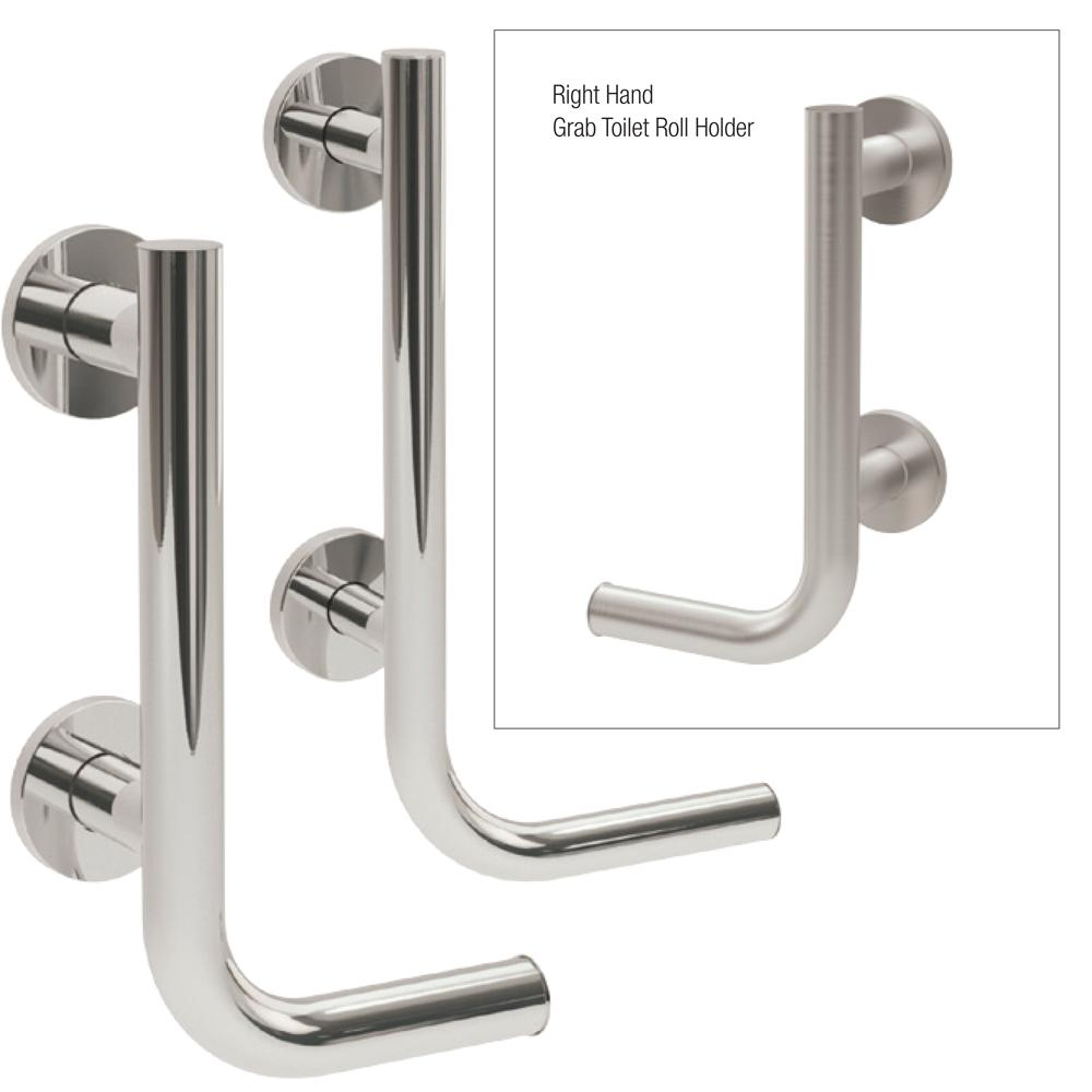Yardley Grab Rail Toilet Roll Holder in 25mm and 35mm Stainless Steel