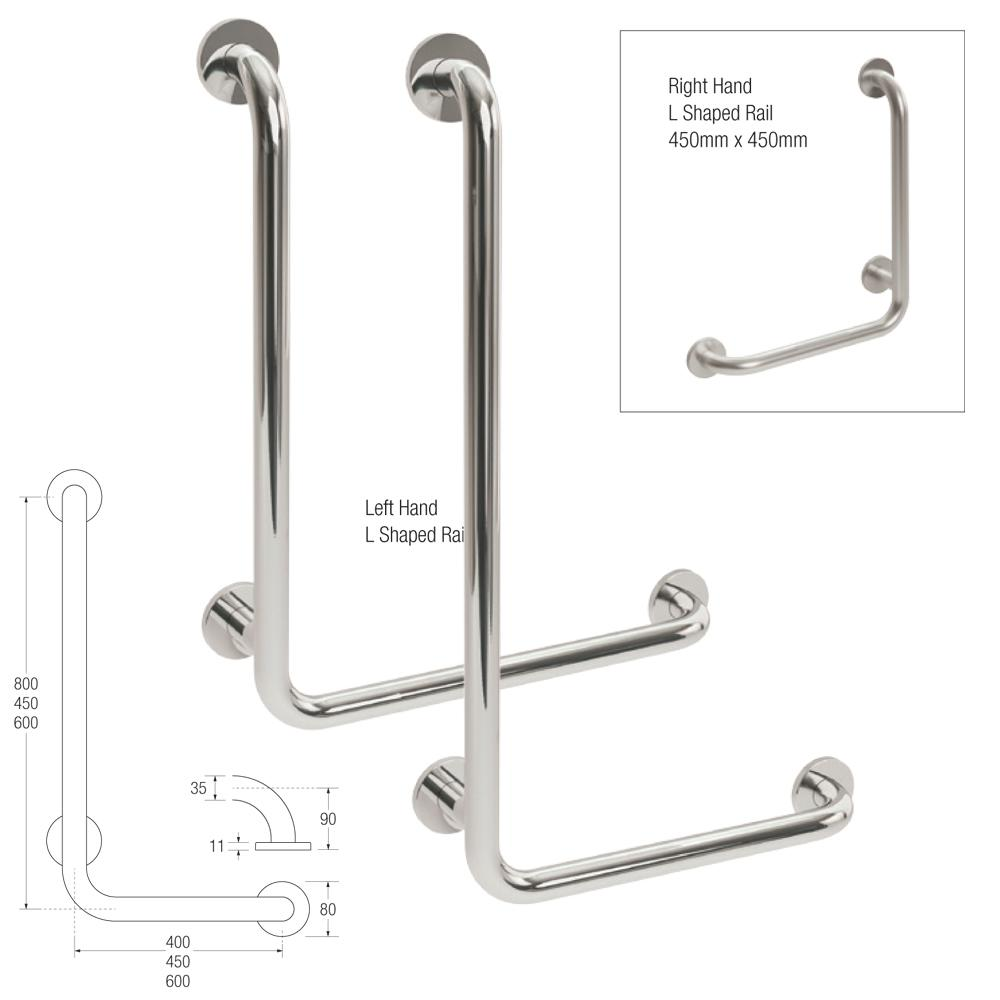 25mm Knowle L Shaped Rail in Stainless Steel, L/Hand