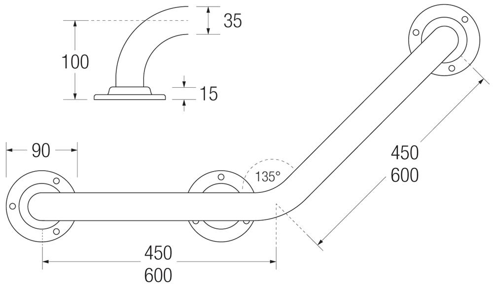 Cranked Grab Rail (3 flange) Measurements