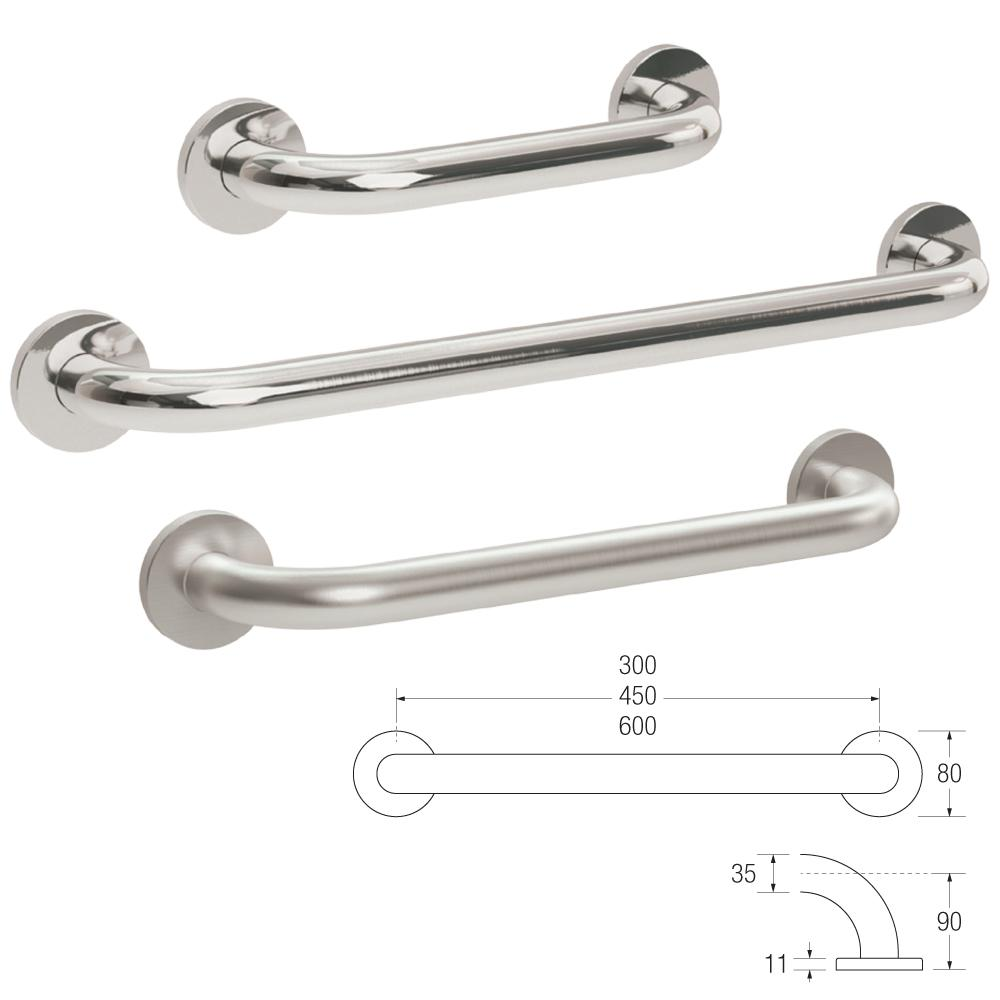 25mm Knowle Straight Grab Rail (Stainless Steel)