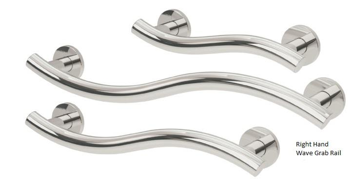35mm Yardley Wave Grab Rail R/H (Stainless Steel)