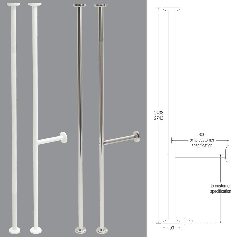 Vertical Grab Pole in 35mm Stainless Steel