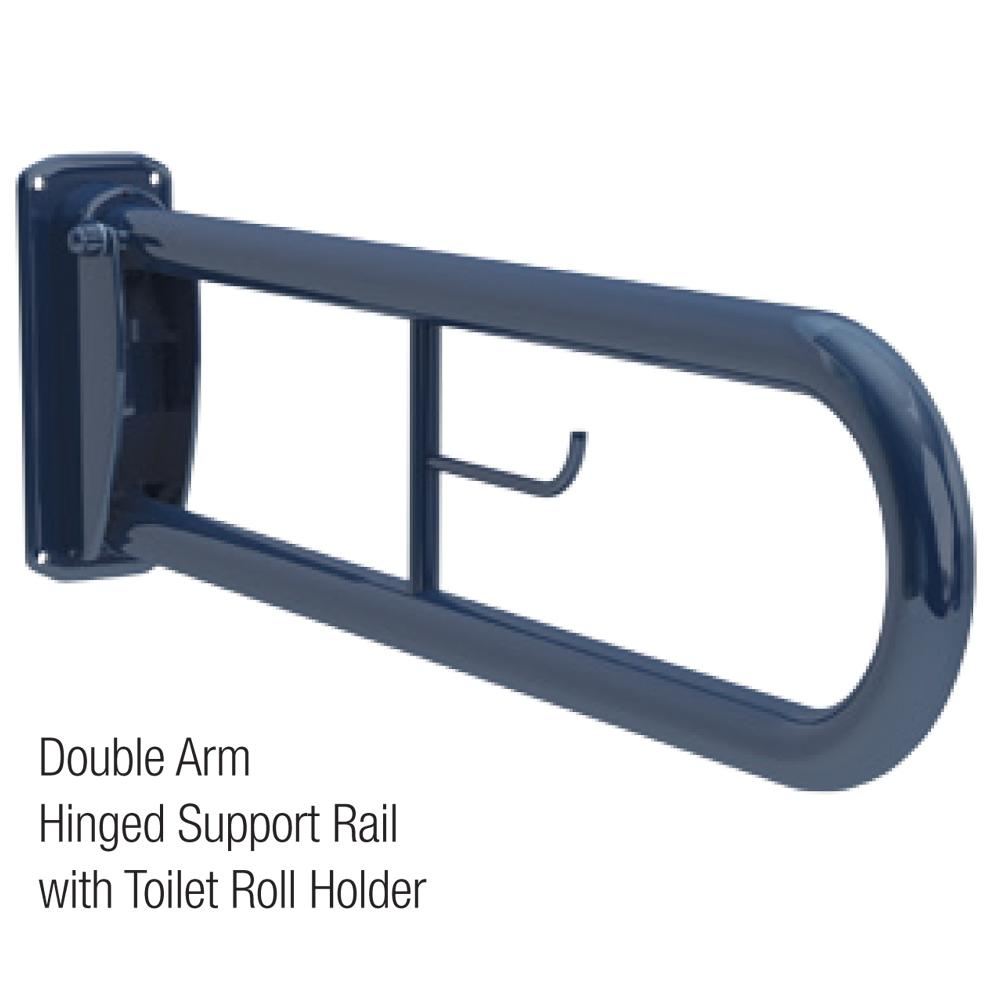35mm Double Arm Hinged Support with Toilet Roll Holder (Mild Steel)