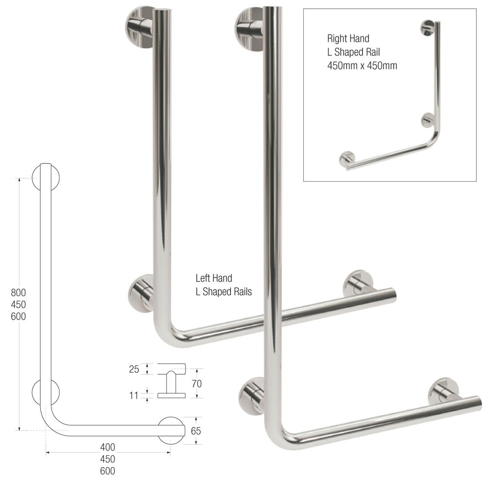 Yardley L Shaped Rail in 25mm Stainless Steel L/Hand