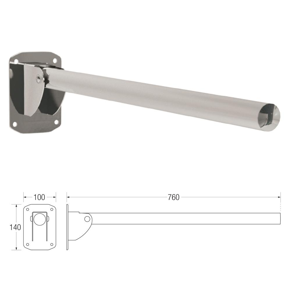 35mm Friction Hinged Single Support Rail in Stainless Steel