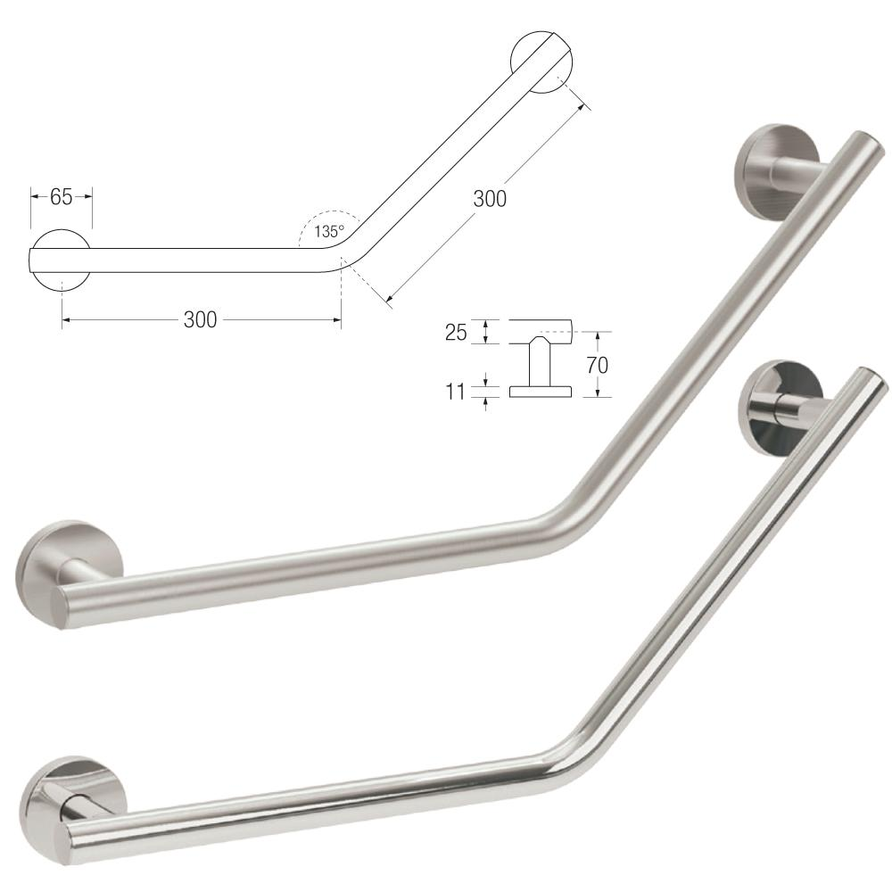 Yardley Cranked Grab Rail in 25mm Stainless Steel