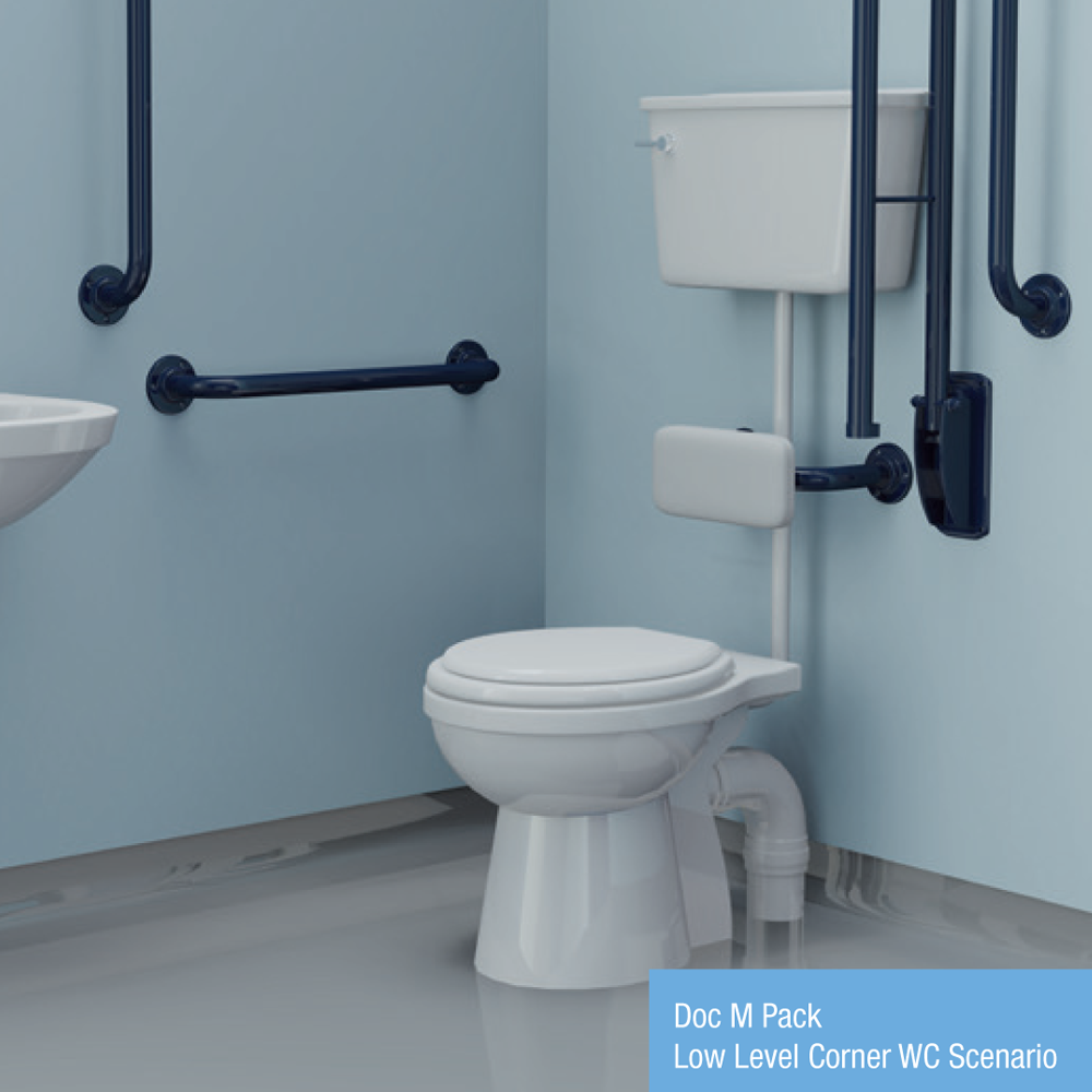 Doc M Pack - Corner WC Low Level (Stainless Steel) 890mm