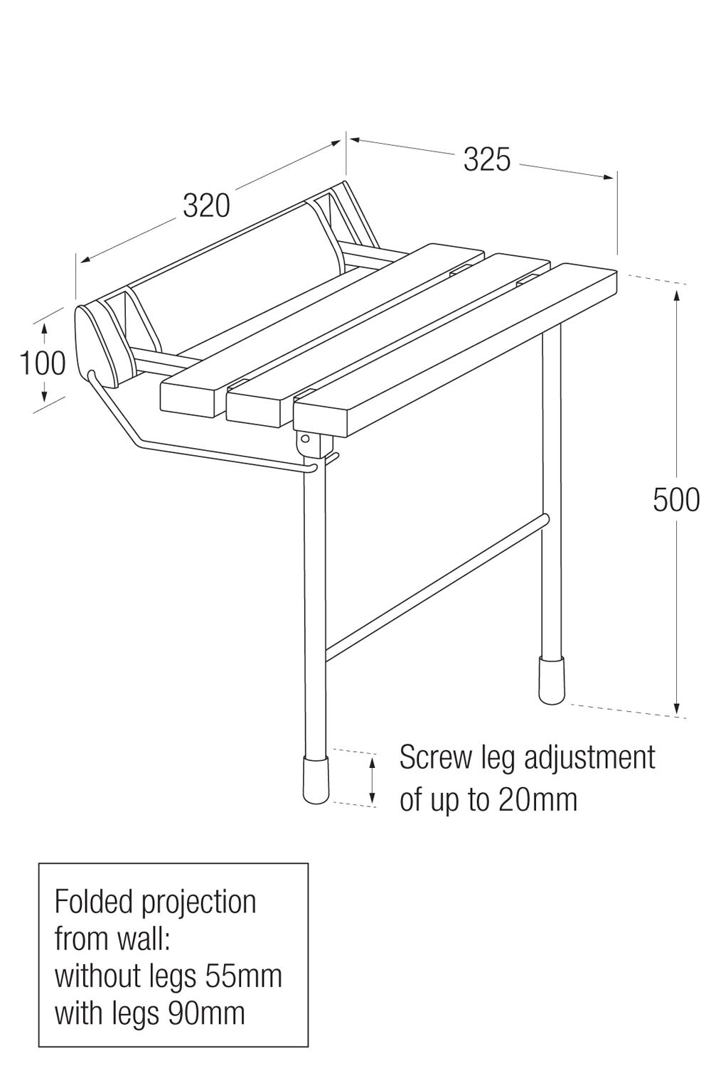 Plastic Slatted Shower Seat Measurement