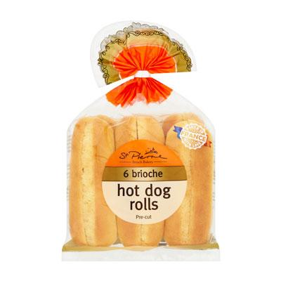 6 Pre Cut Brioche Hot Dog Rolls