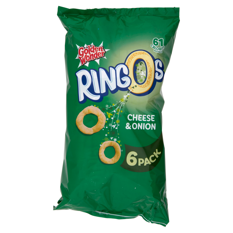 Golden Wonder Ringo Cheese & Onion 6Pk