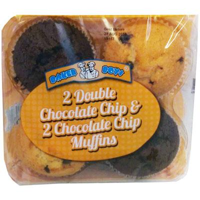 Double Chocolate and Chocolate Chip muffins