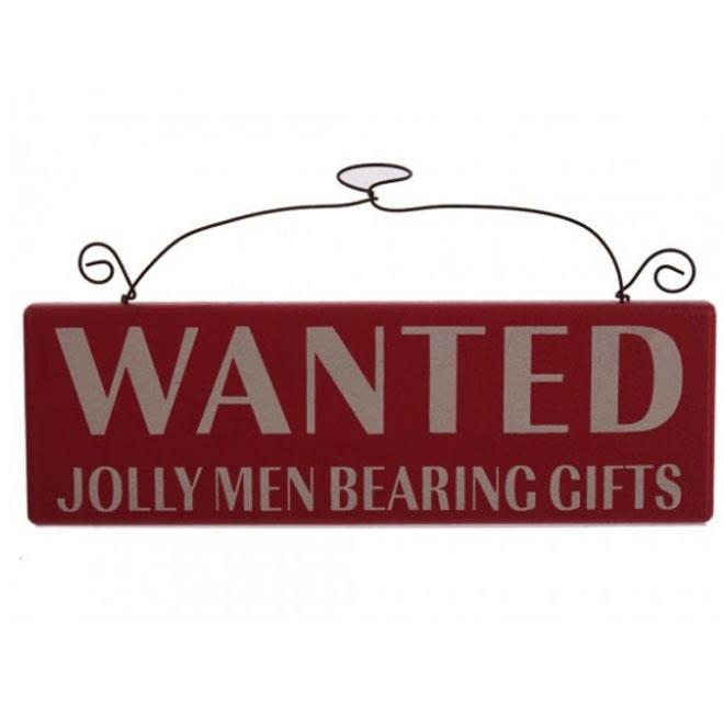 Red Jolly Men Wanted Wooden Wall Plaque