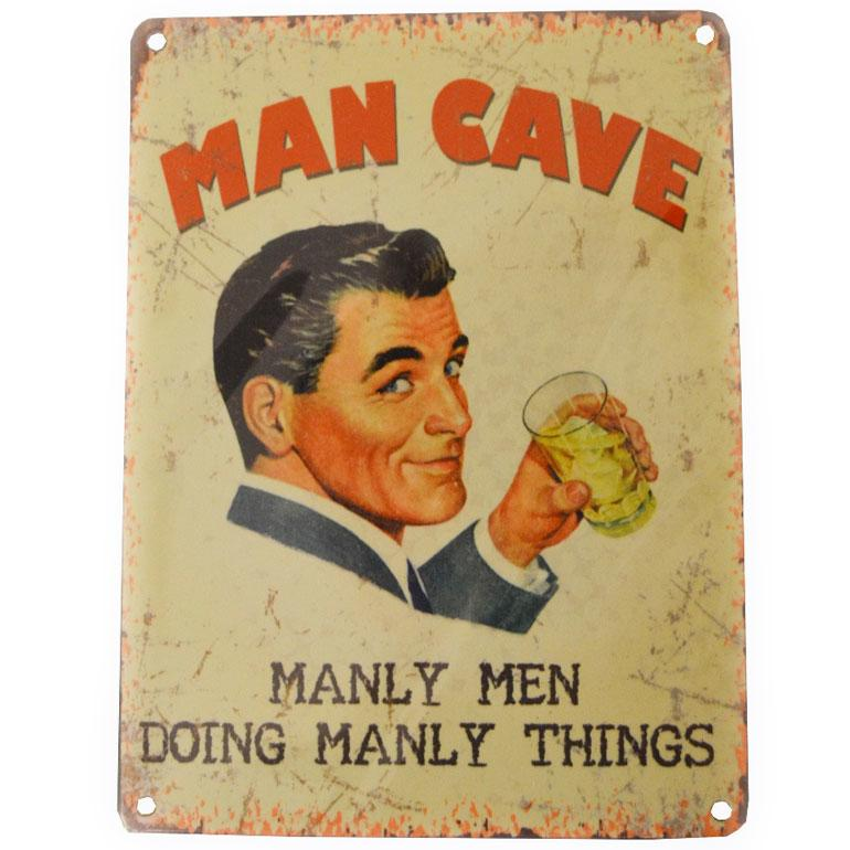 Metal Man Cave Hanging Wall Plaque