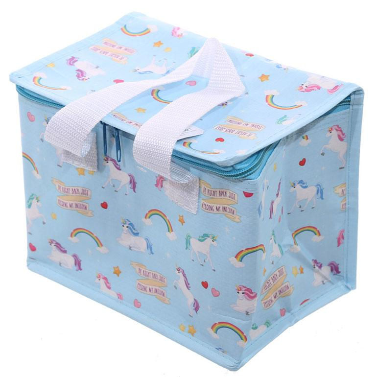 Blue Unicorn and Rainbow Insulated Lunch Bag
