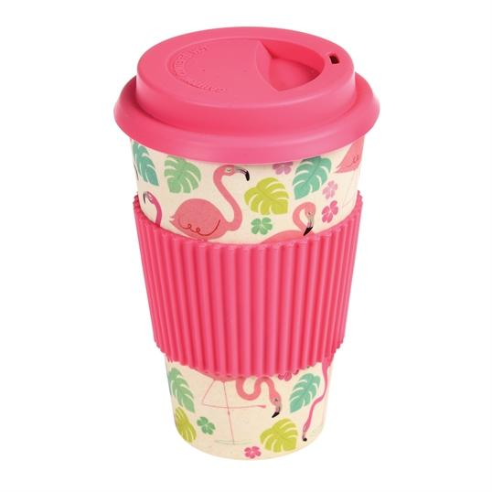 Ceramic Travel Mug with Pink Lid and Grip covered in Flamingos