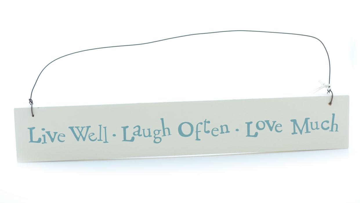 Live Well Slim White Wooden Wall Plaque