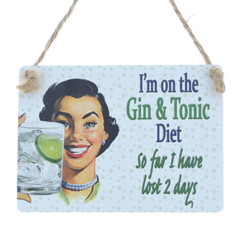 Mini Metal Plaque On the Gin and Tonic Diet
