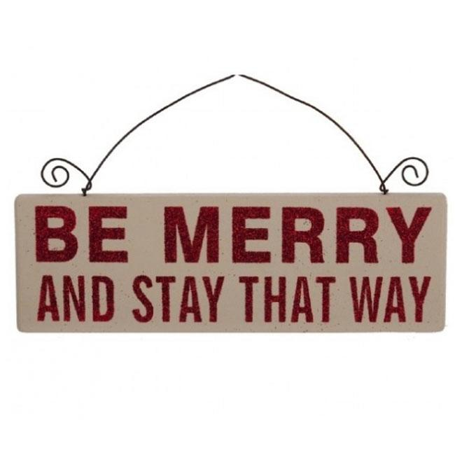 Be Merry Red Glitter Text Wood Sign