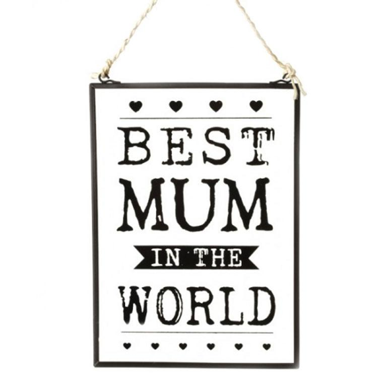 Best Mum Vintage Glass Wall Hanging Plaque