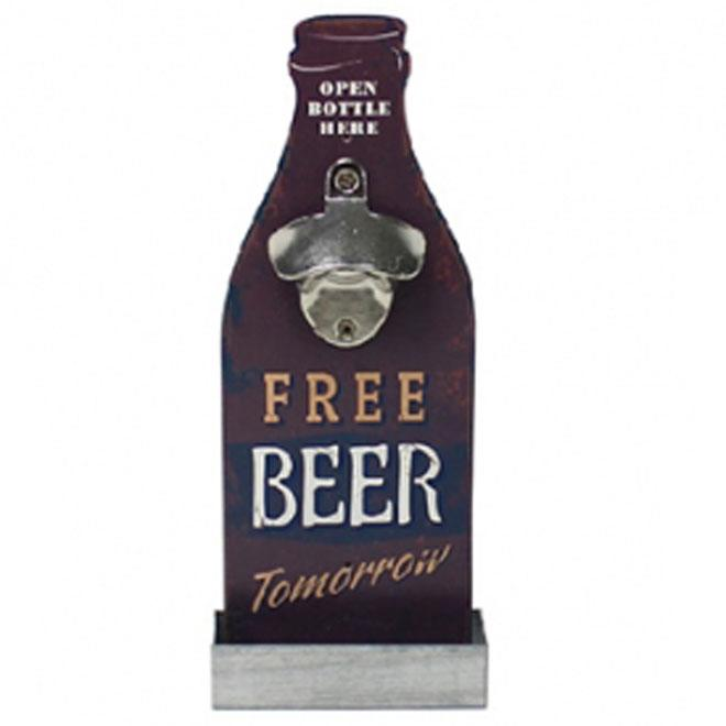Retro Wooden Standing Bottle Opener with Cap Tray