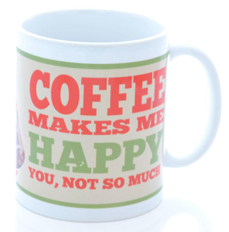 Retro Cream Coffee Makes Me Happy Mug