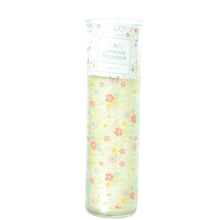 Spring Meadow Yellow Ditsy Tall Glass Candle