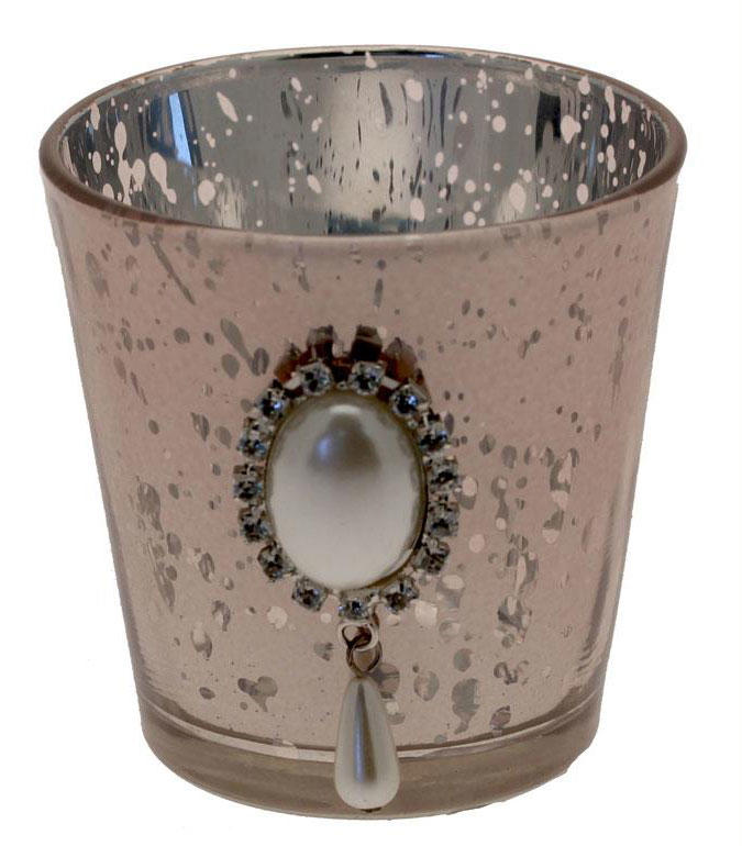 Pink Mercury Glass Tealight Candle Holder with Flat Back Pearl