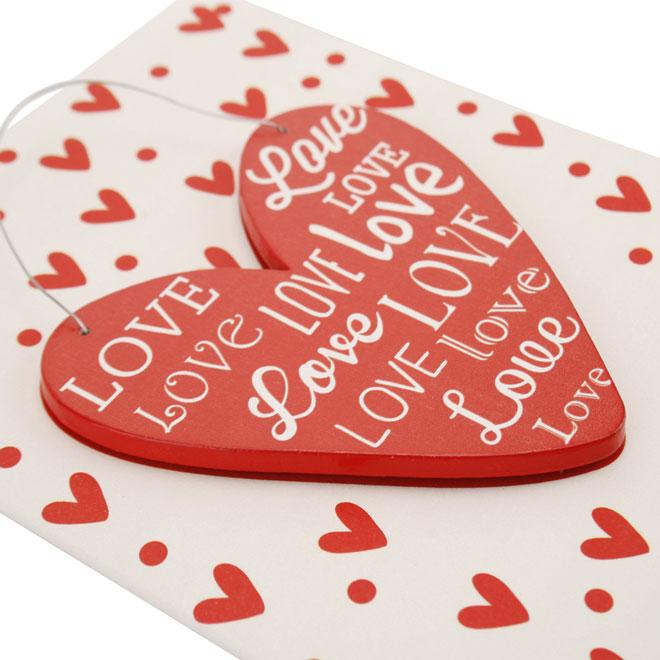 Red Wooden Love Heart Mounted on Gift Card