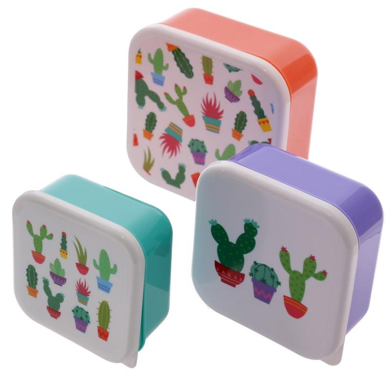 Cactus Plastic Snack Lunch Boxes Set of 3