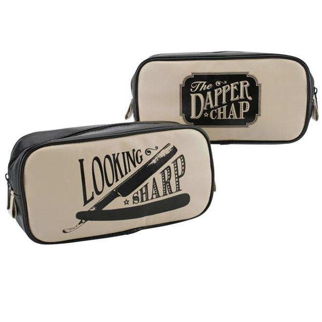 Men's Retro Black & Tan Travel Wash Bag
