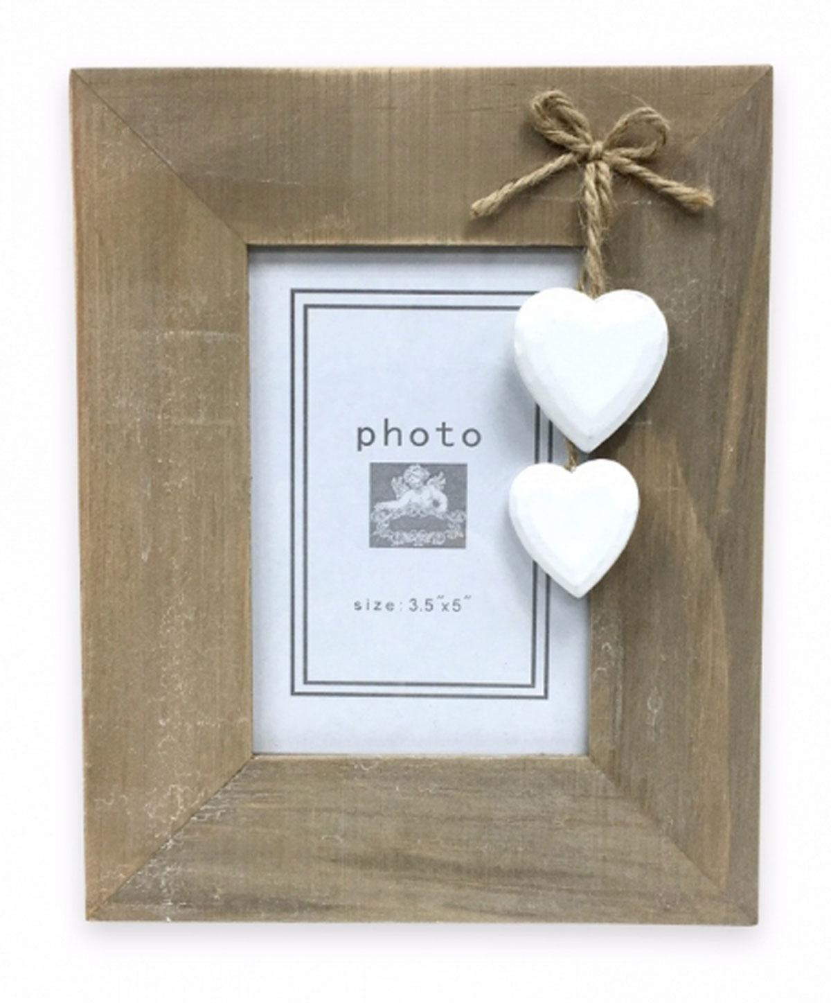 Natural Wood Portrait Photo Frame with Hanging Hearts