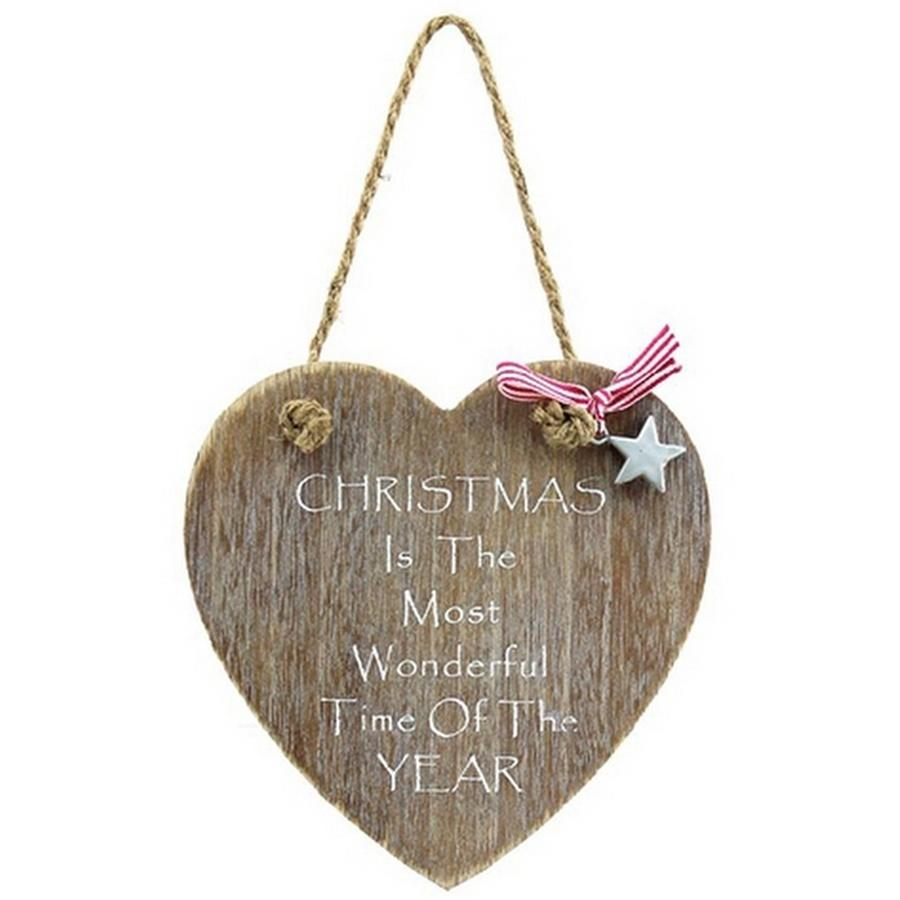 Natural Wood Christmas Heart Wall Plaque