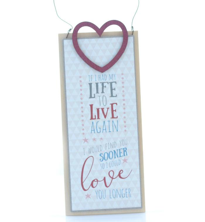 If I Had My Life To Live Again Wooden Wall Plaque