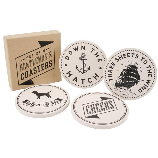Cream & Black Gentleman's Stone Coasters Set