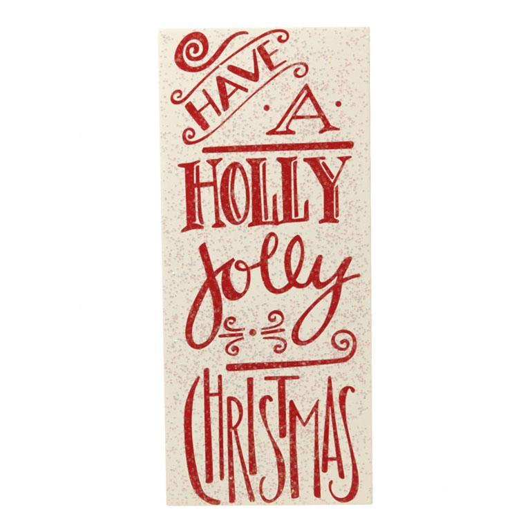 Have A Holly Jolly Christmas Red Glitter Block