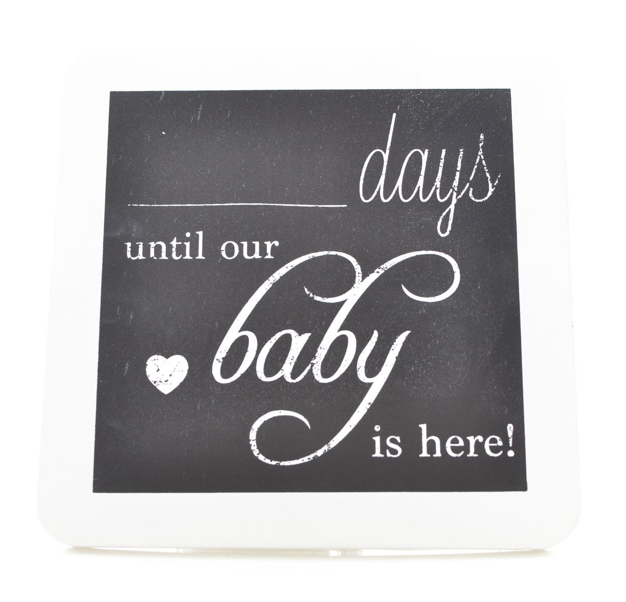 White Hanging Chalkboard Plaque Til Our Baby Countdown