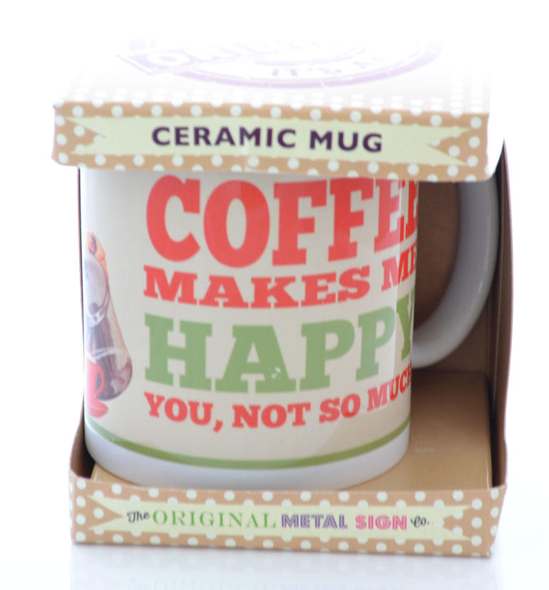 Retro Cream Coffee Makes Me Happy Mug Gift Boxed