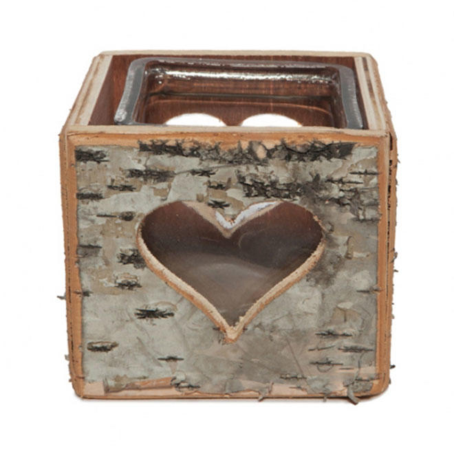 Square Birch Tea Light Candle Holder with Hollow Heart