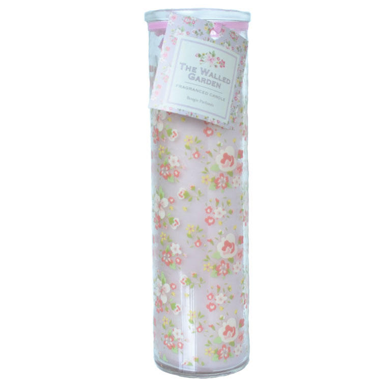The Walled Garden Pink Ditsy Tall Glass Candle