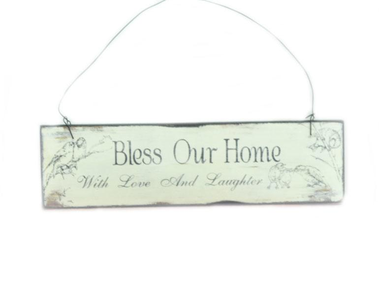 Small Bless Our Home Wooden Wall Plaque