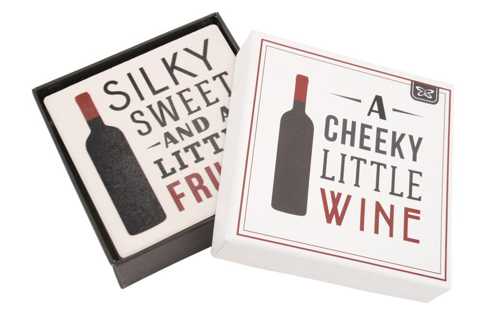 Set of Four Cheeky Wine Stone Coasters
