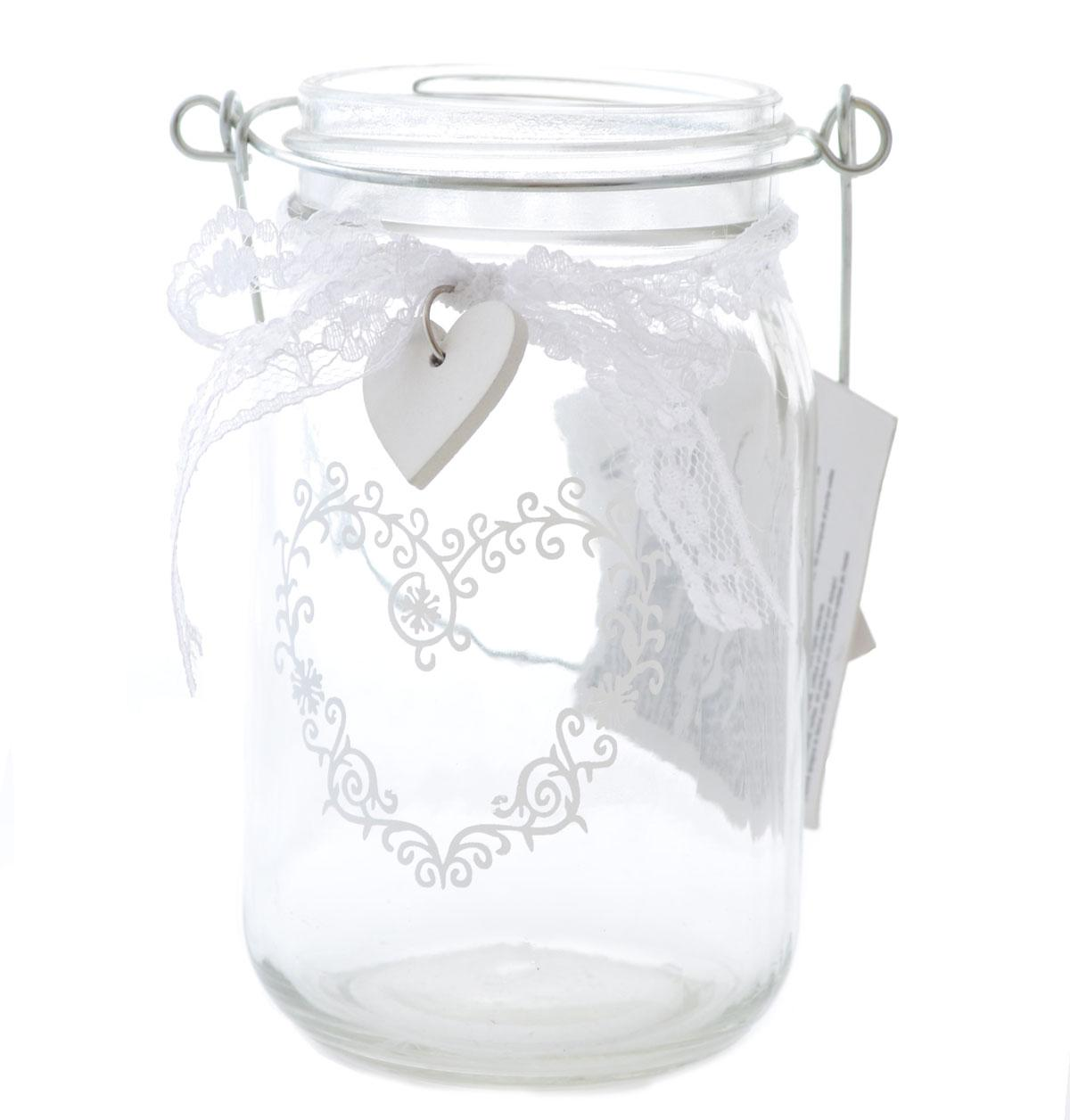 Glass Jar Candle Holder with Wire Loop & Heart