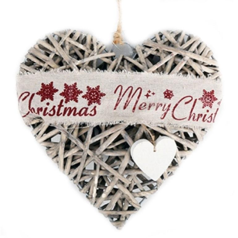 Grey Willow Merry Christmas Hanging Heart Decoration