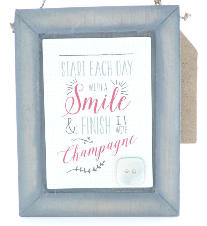 Start the Day with a Smile Small Wooden Wall Plaque