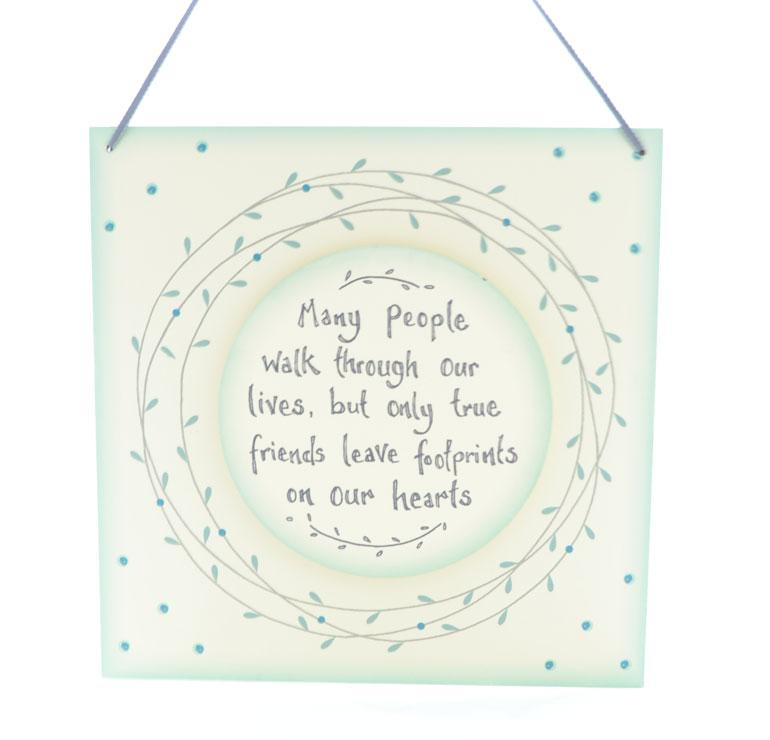 Wooden Hanging Wall Plaque Friends Leave Footprints