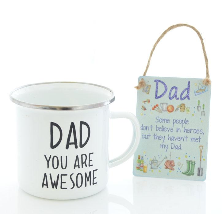 Awesome Dad Tin Mug & Mini Metal Sign Set