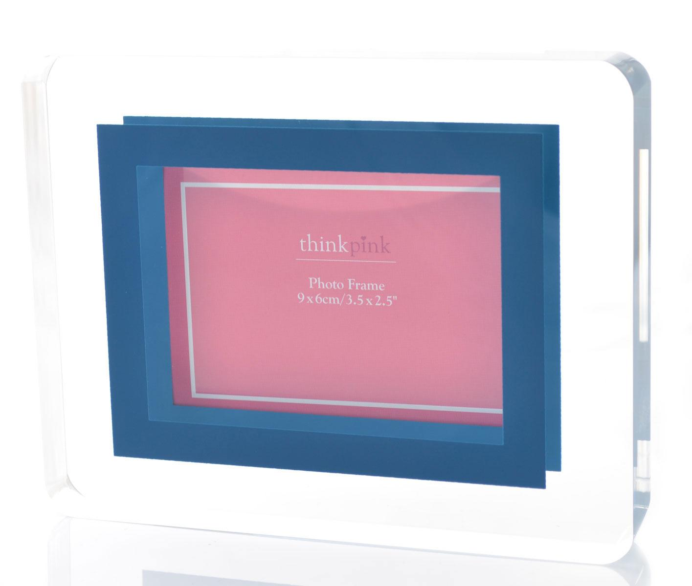 Small Acrylic Block Photo Frame Blue