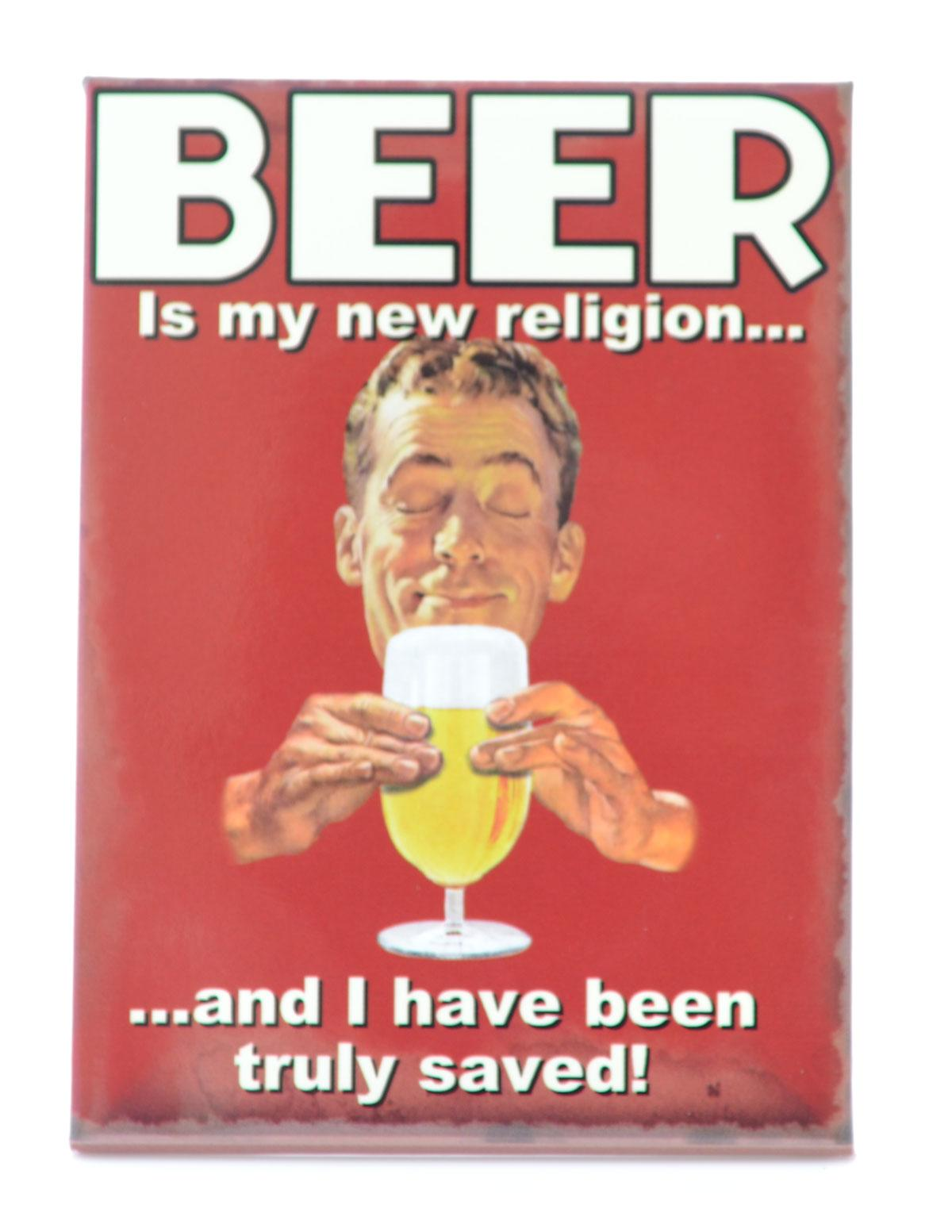 Beer My New Religion Funny Fridge Magnet