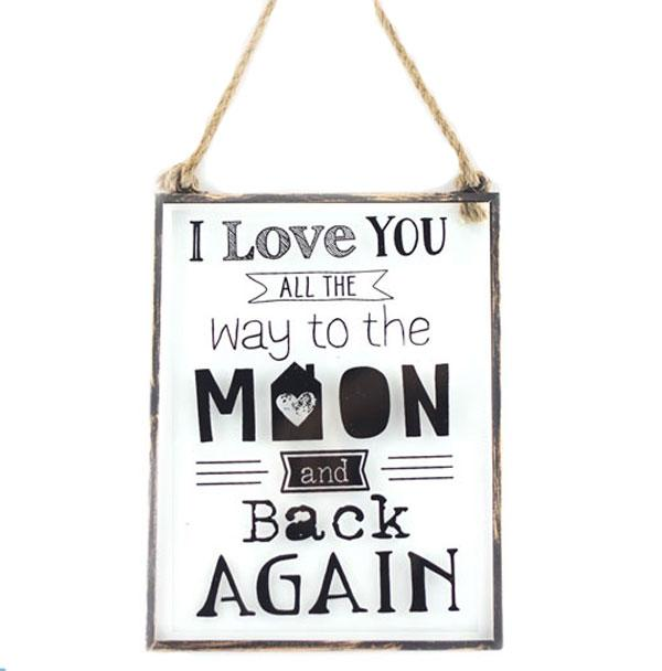 Love You To the Moon Metal & Glass Wall Plaque